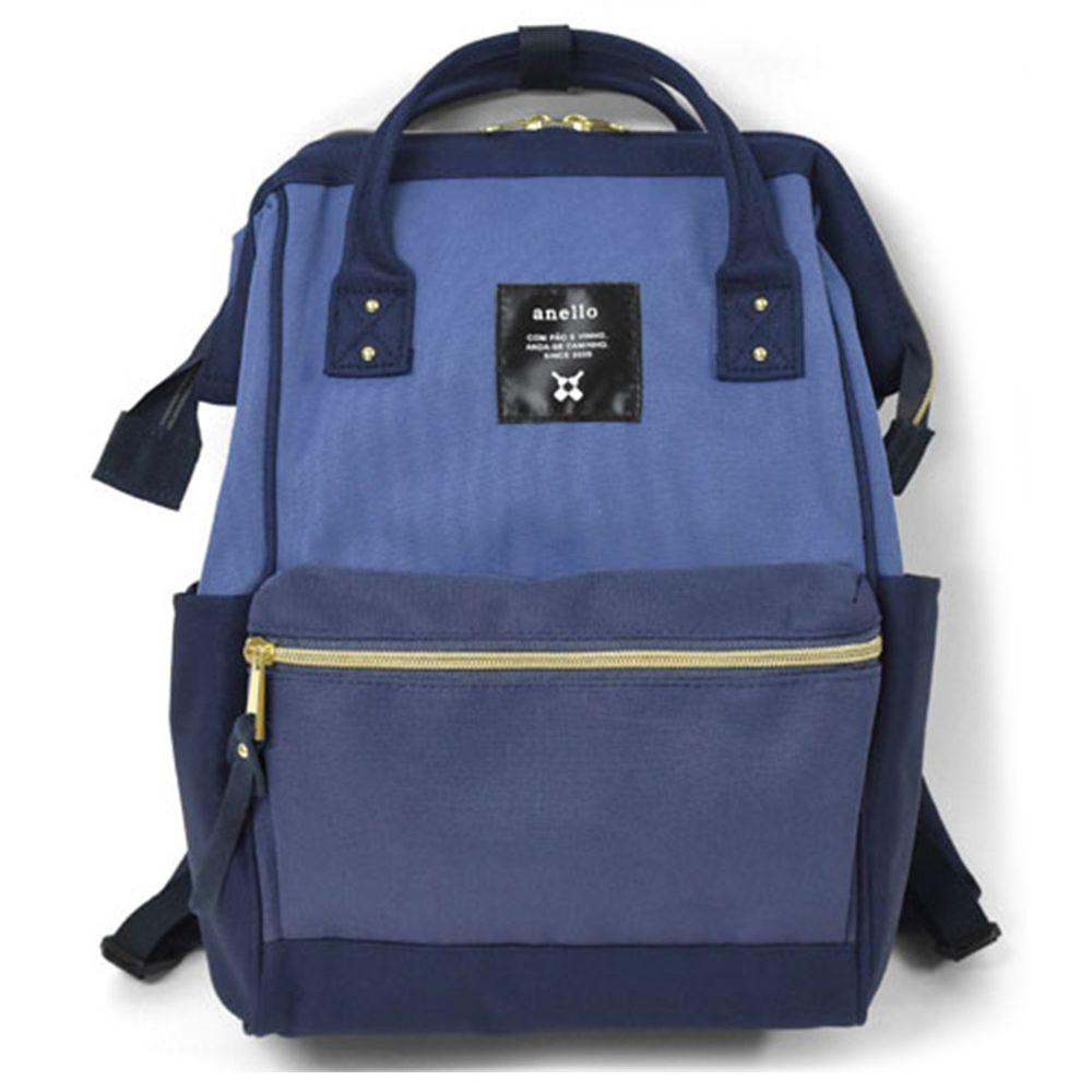日本 Anello - 大開口牛津布後背包-mini小尺寸-NML深藍拼接