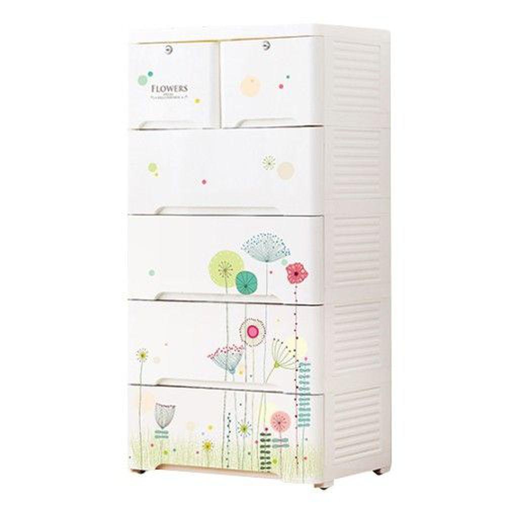 家窩 - 新晴五層附鎖抽屜收納櫃-DIY組裝-春日物語-單層30L*5層