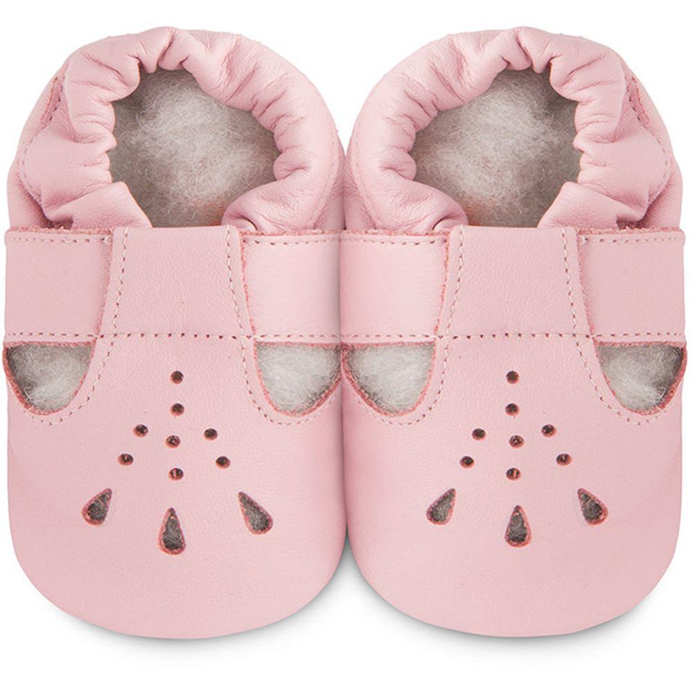 英國 shooshoos - 健康無毒真皮手工鞋/學步鞋/嬰兒鞋/室內鞋/室內保暖鞋-粉橘茉莉