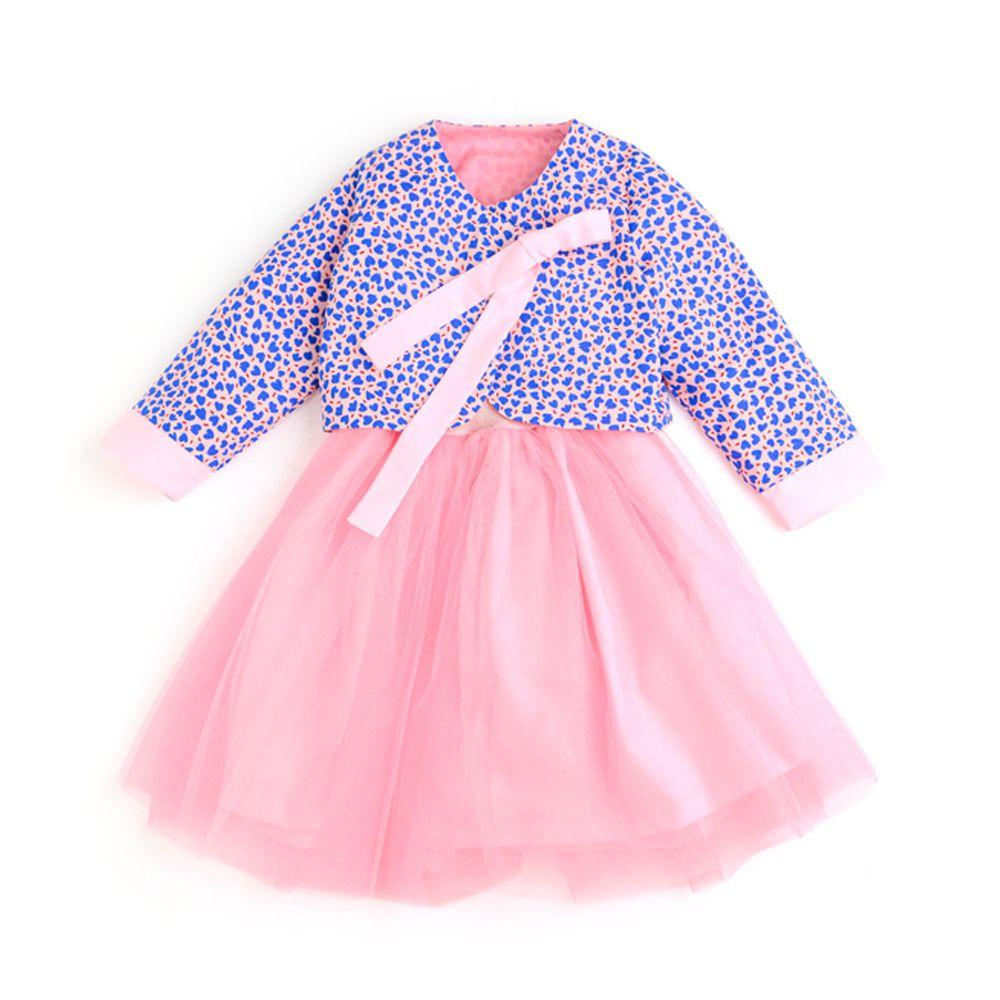 韓國 OZKIZ - 上下兩件式紗裙生活韓服-粉紅