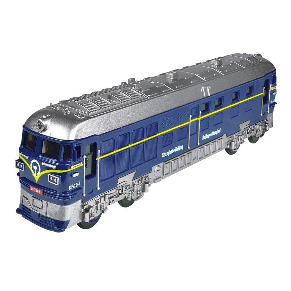 小小家 - 小小鐵道迷-磨輪聲光復古小火車-藍色