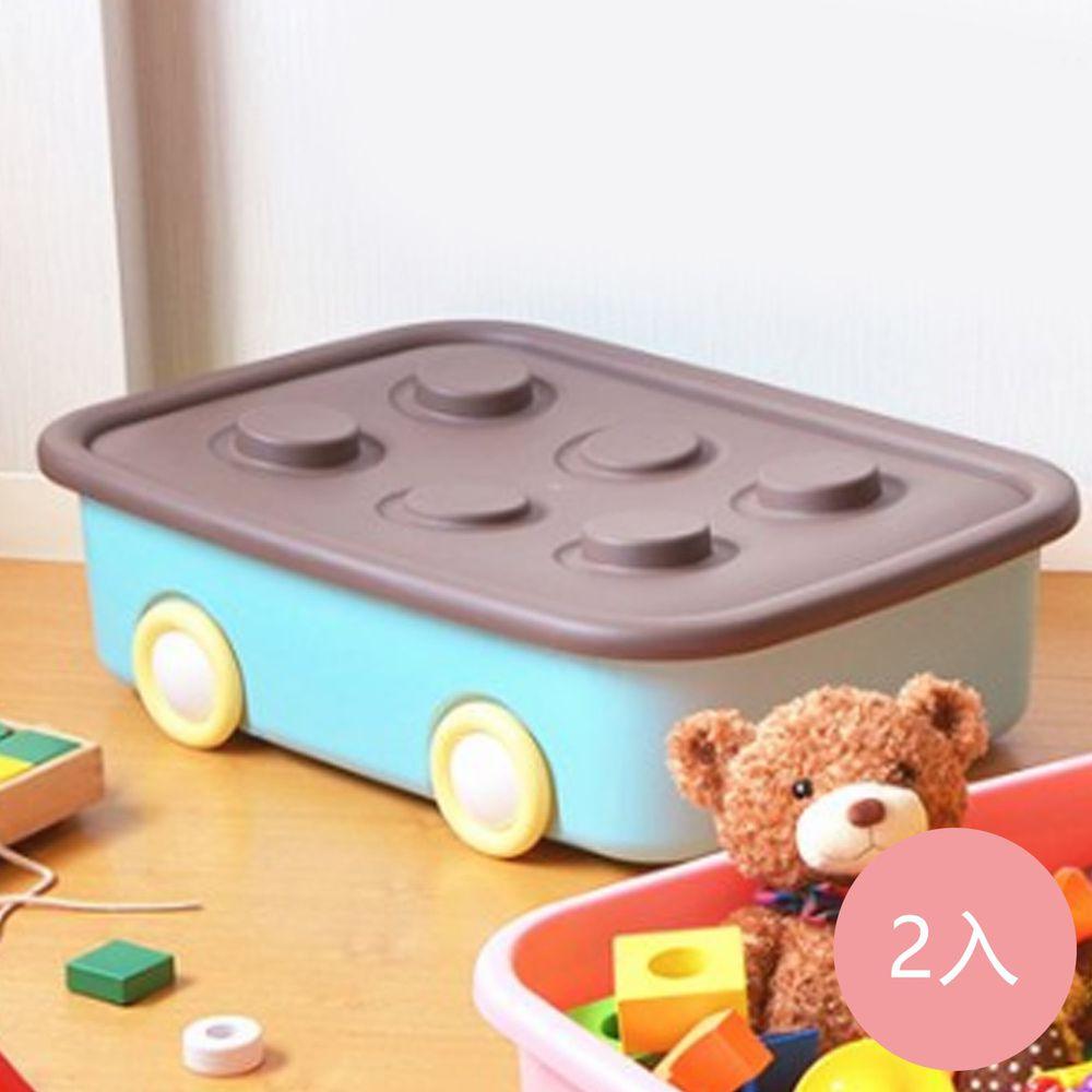 日本伸和 Shinwa - 日本製 玩具衣物可疊固定收納箱XL(50L)-附輪-2入-粉藍