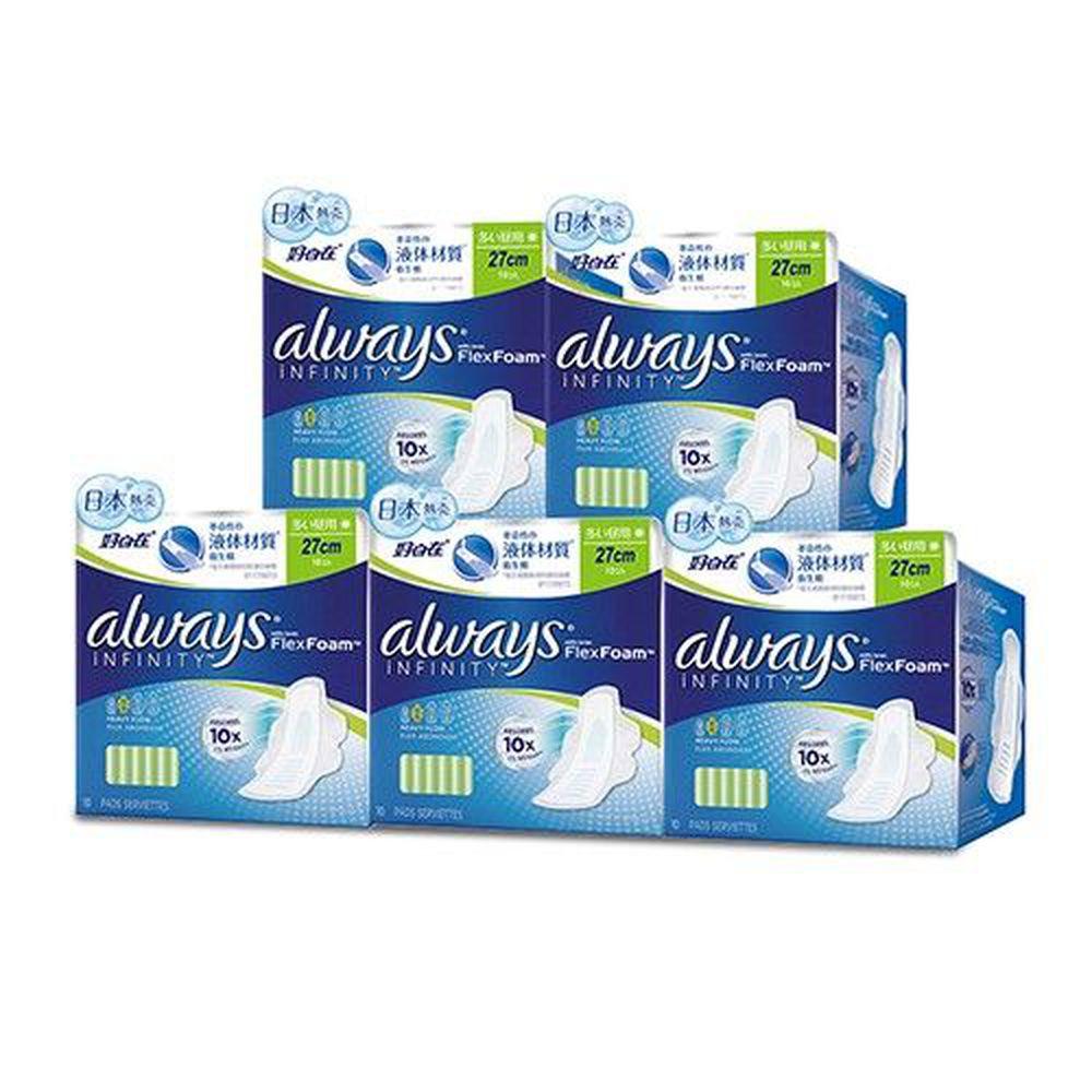 好自在 - 好自在INFINITY液體衛生棉 (量多日用27cm)-10片 x 5袋