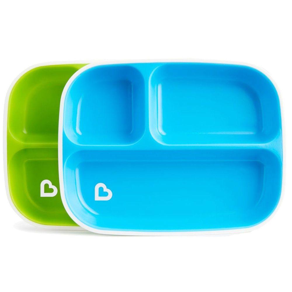 美國 munchkin - 防滑三格餐盤2入-綠/藍
