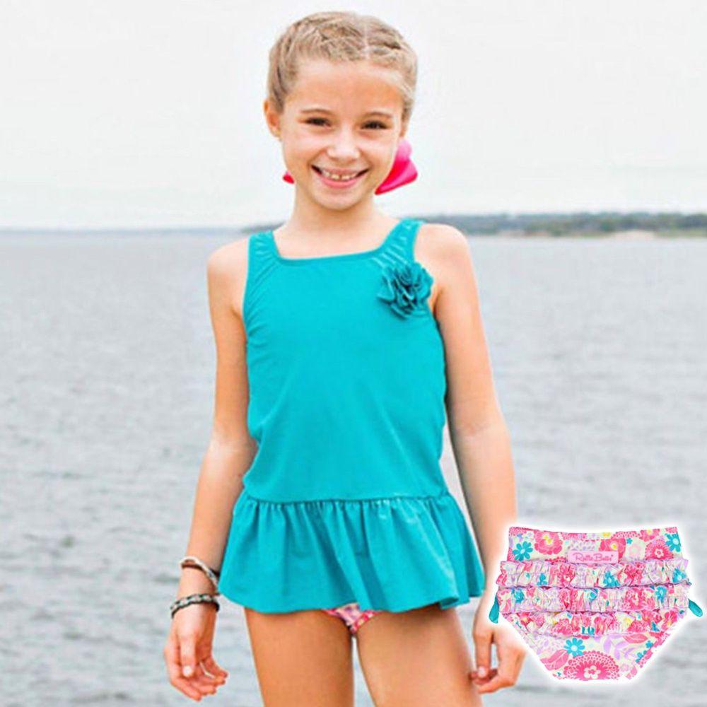 美國 RuffleButts - 小女童無袖比基尼泳裝-素面綠