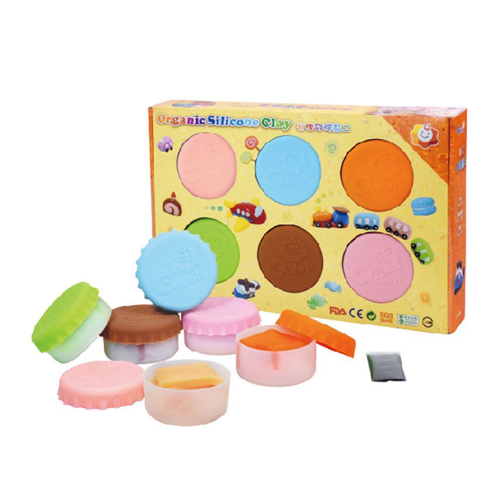 Q-doh - 魔法定型有機矽膠黏土 6色補充盒 (馬卡龍色)-6色/各35g,附贈黑色矽膠黏土5g,透明定型矽膠黏土20g