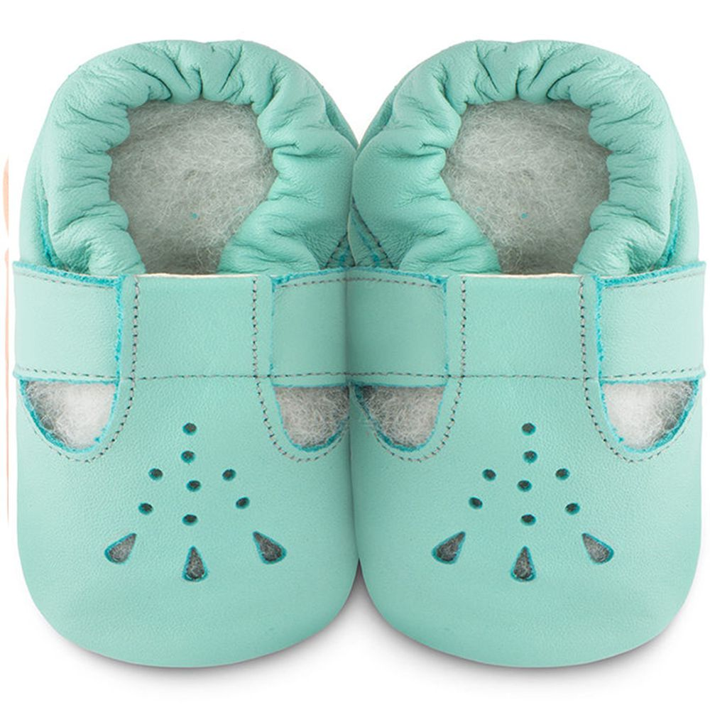 英國 shooshoos - 健康無毒真皮手工鞋/學步鞋/嬰兒鞋/室內鞋/室內保暖鞋-湖水綠茉莉