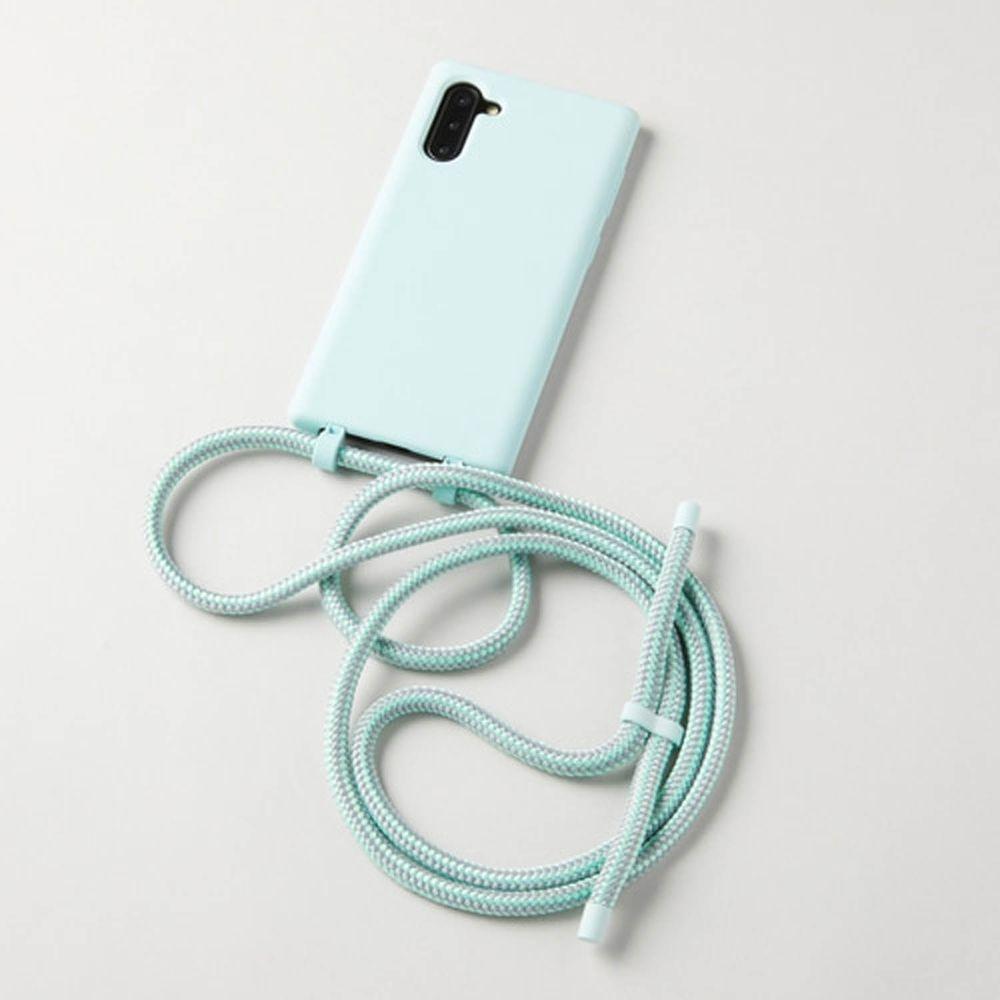 韓國 ARNO - 可拆式編繩背帶單色手機殼-清爽綠