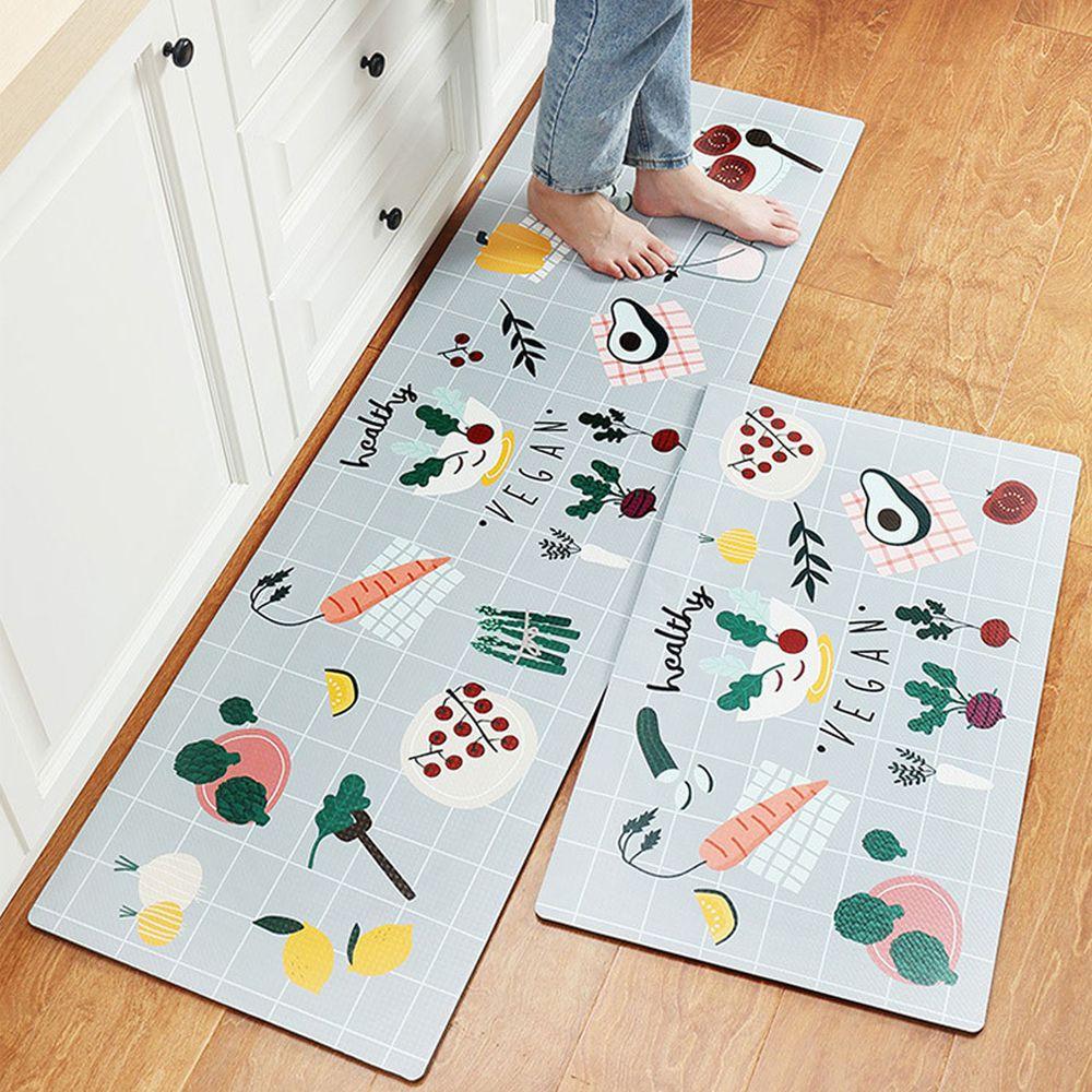 廚房仿皮革PVC防水腳踏墊-健康蔬菜vegan-灰色