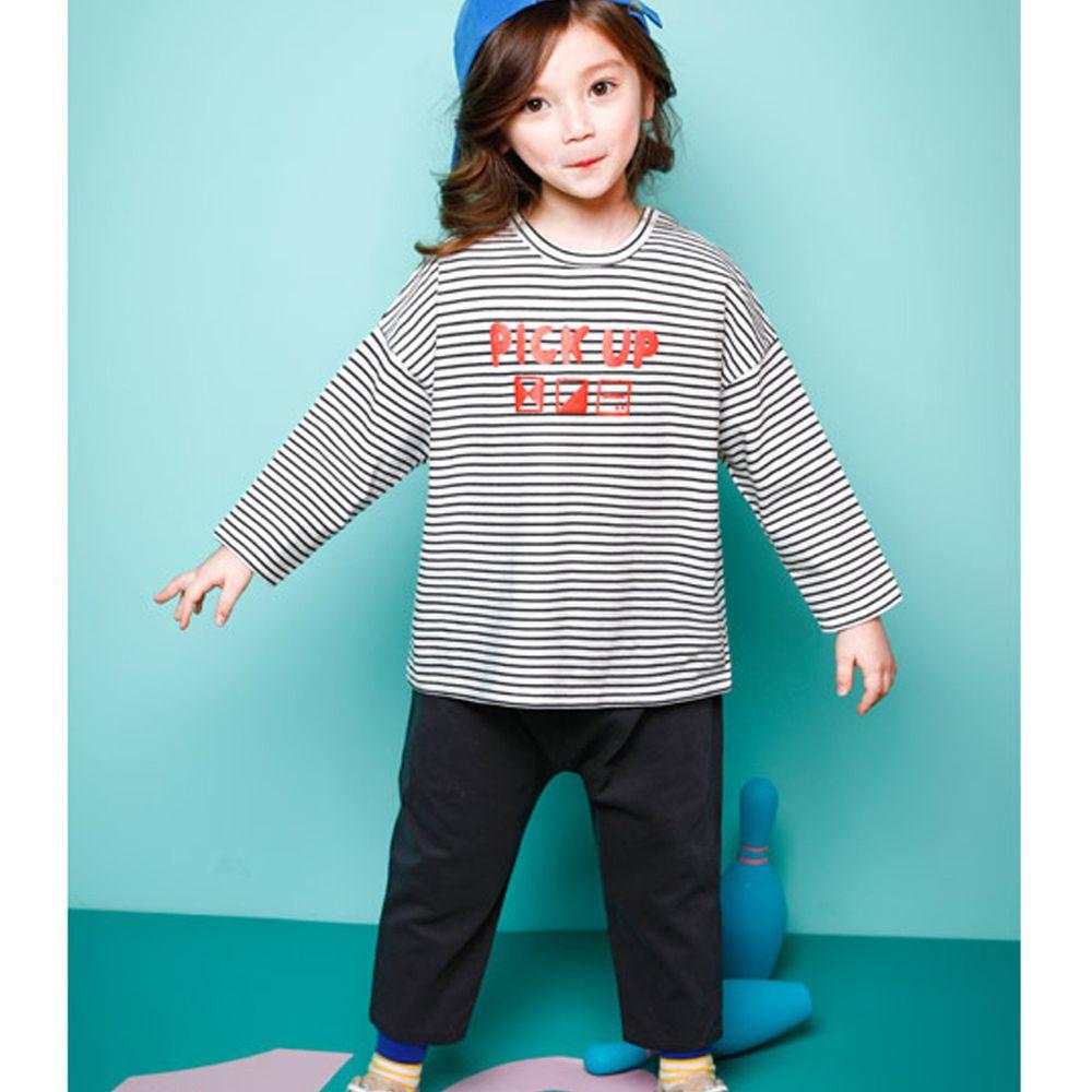韓國 Jelispoon - 條紋七分袖套裝-深灰