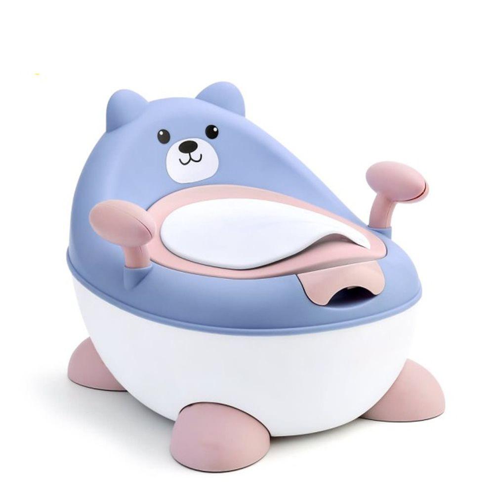 Kikimmy - 可升降坐便器-小熊-藍-34x35x29-32cm