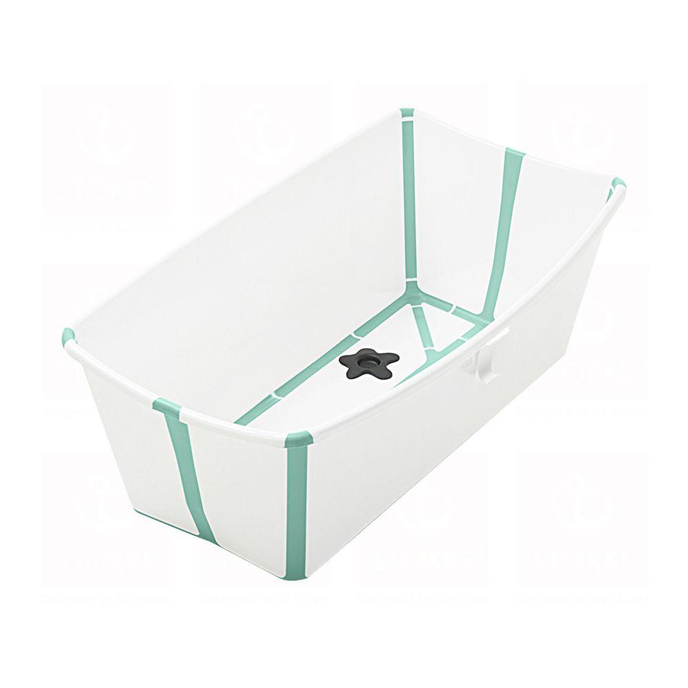 Stokke - Flexi Bath折疊式浴盆(感溫水塞)-白色(湖水綠包邊)