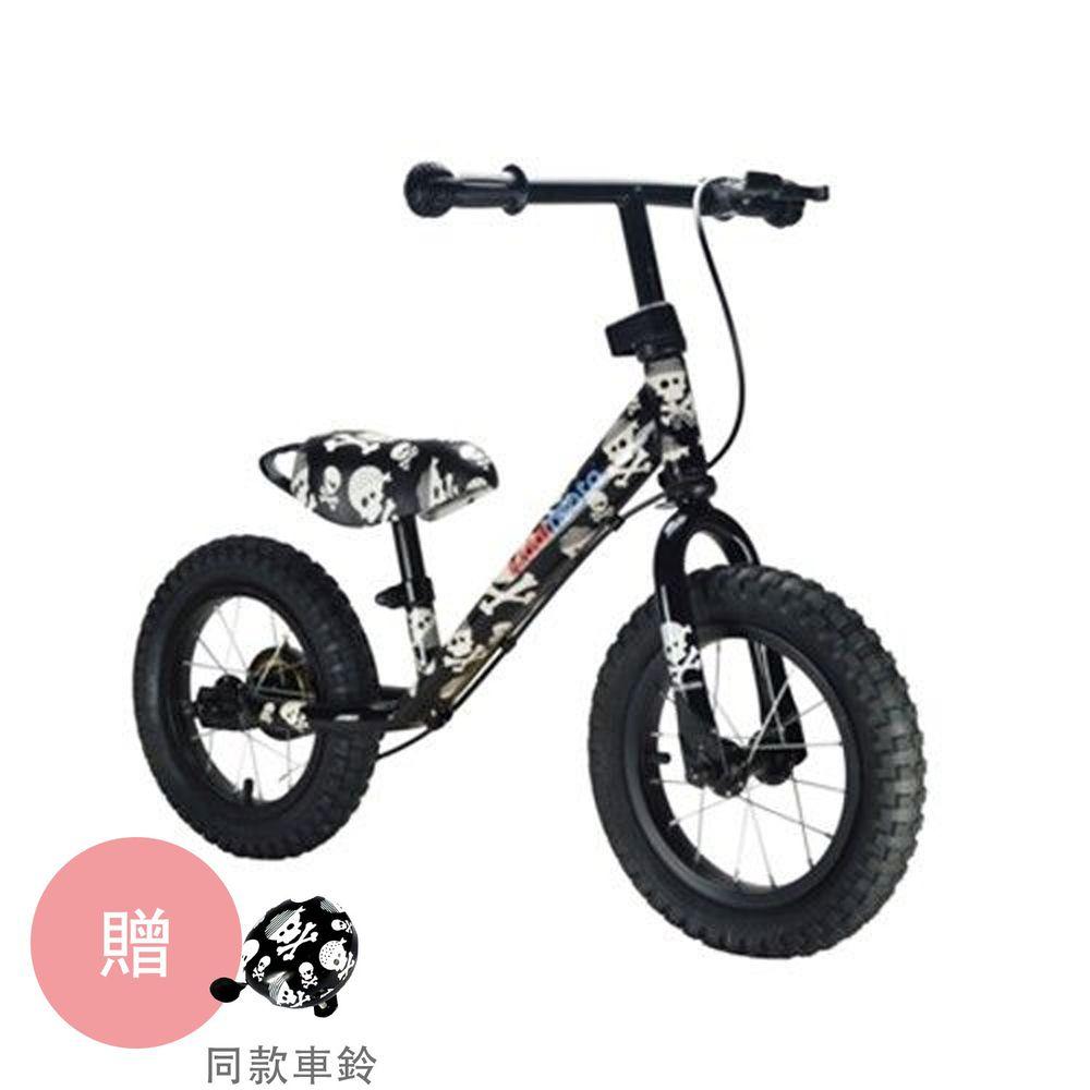 英國 Kiddimoto - 兒童滑步平衡車-酷炫骷髏(有煞車) (85~115cm/50kg內)-買就送同款車鈴