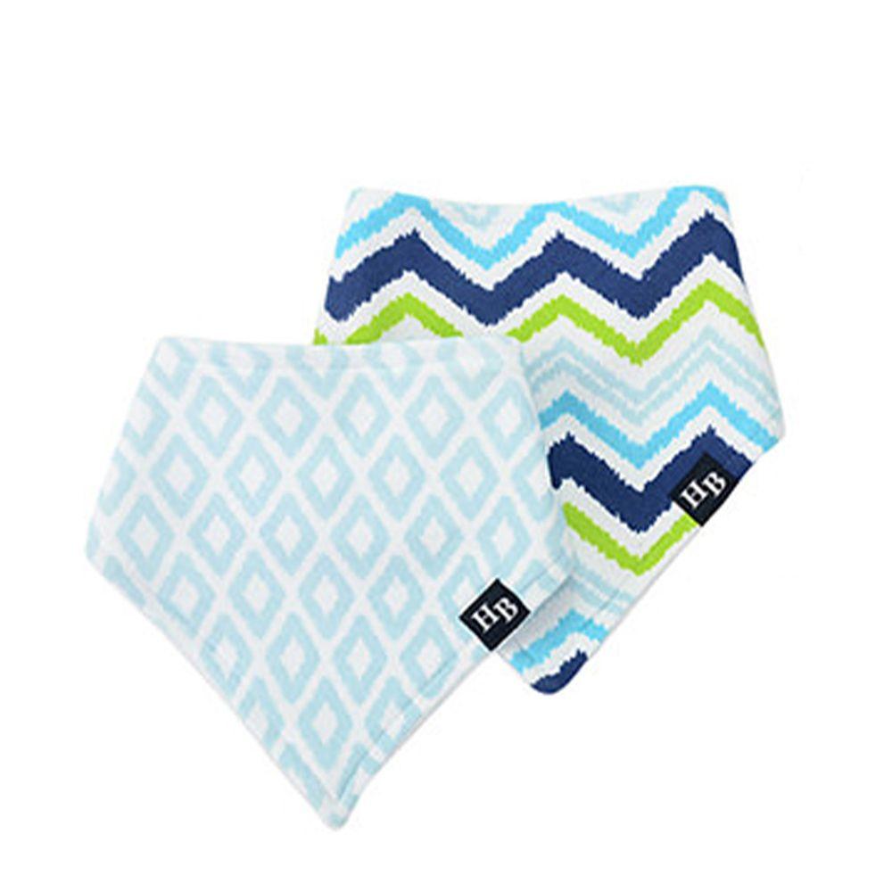 美國 Luvable Friends - 嬰幼兒三角領巾2入組-閃電方塊 (單一尺寸)