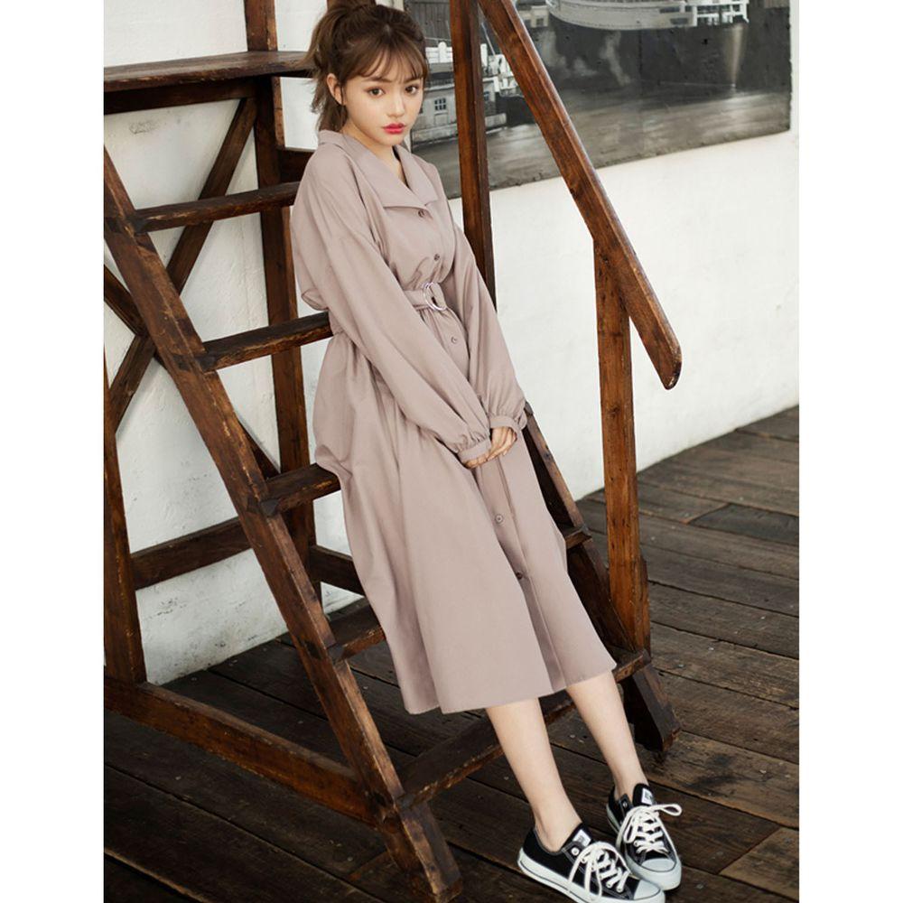 日本 GRL - 襯衫領長袖洋裝(附腰帶)-杏