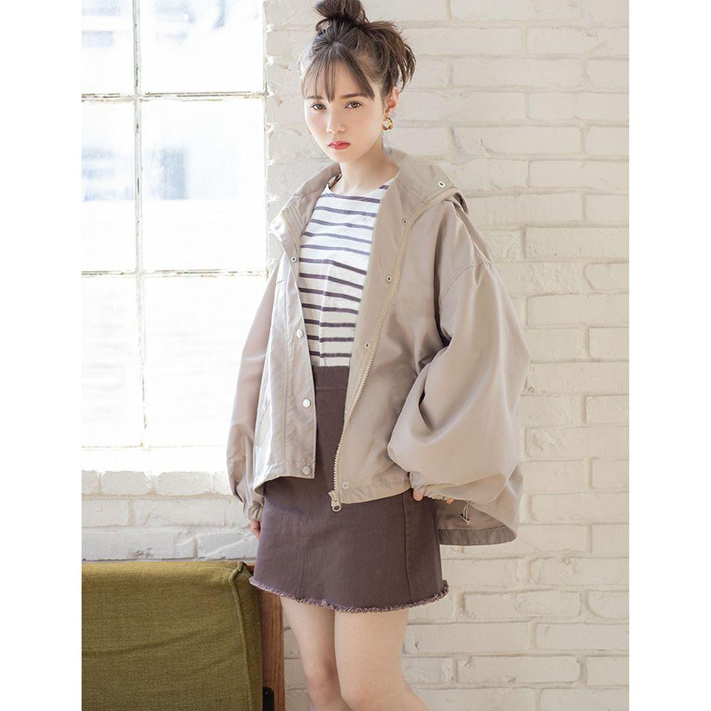 日本 GRL - 修身顯瘦寬版連帽外套-淺杏