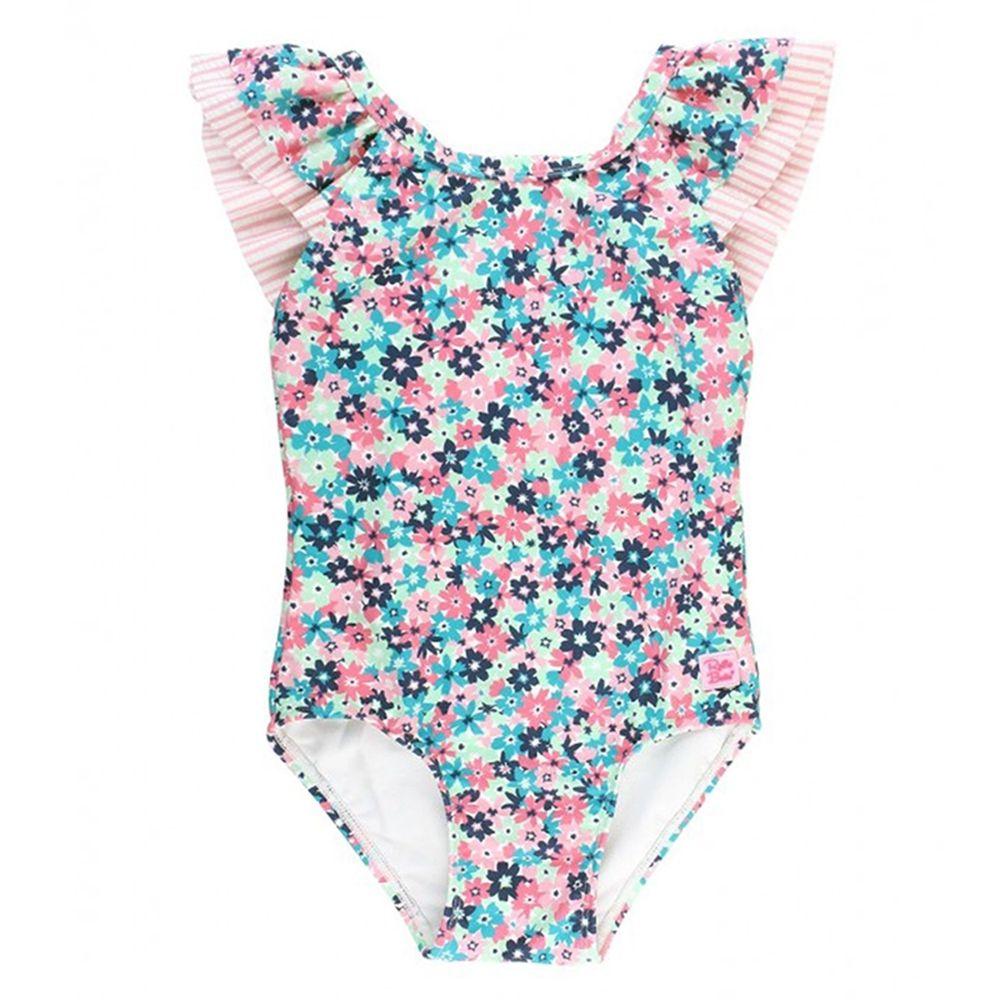 美國 RuffleButts - 小女童UPF 50+防曬無袖連身泳裝-青春萬花筒