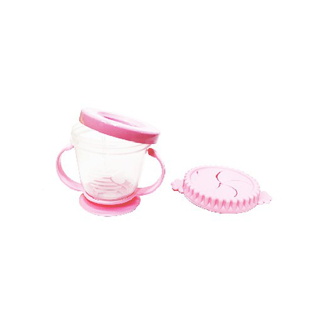 韓國 Pomier 朴蜜兒 - 韓製 HAPPYLAND asb Smart 防漏零食杯-(可當副食品保存盒)-粉色-280mL