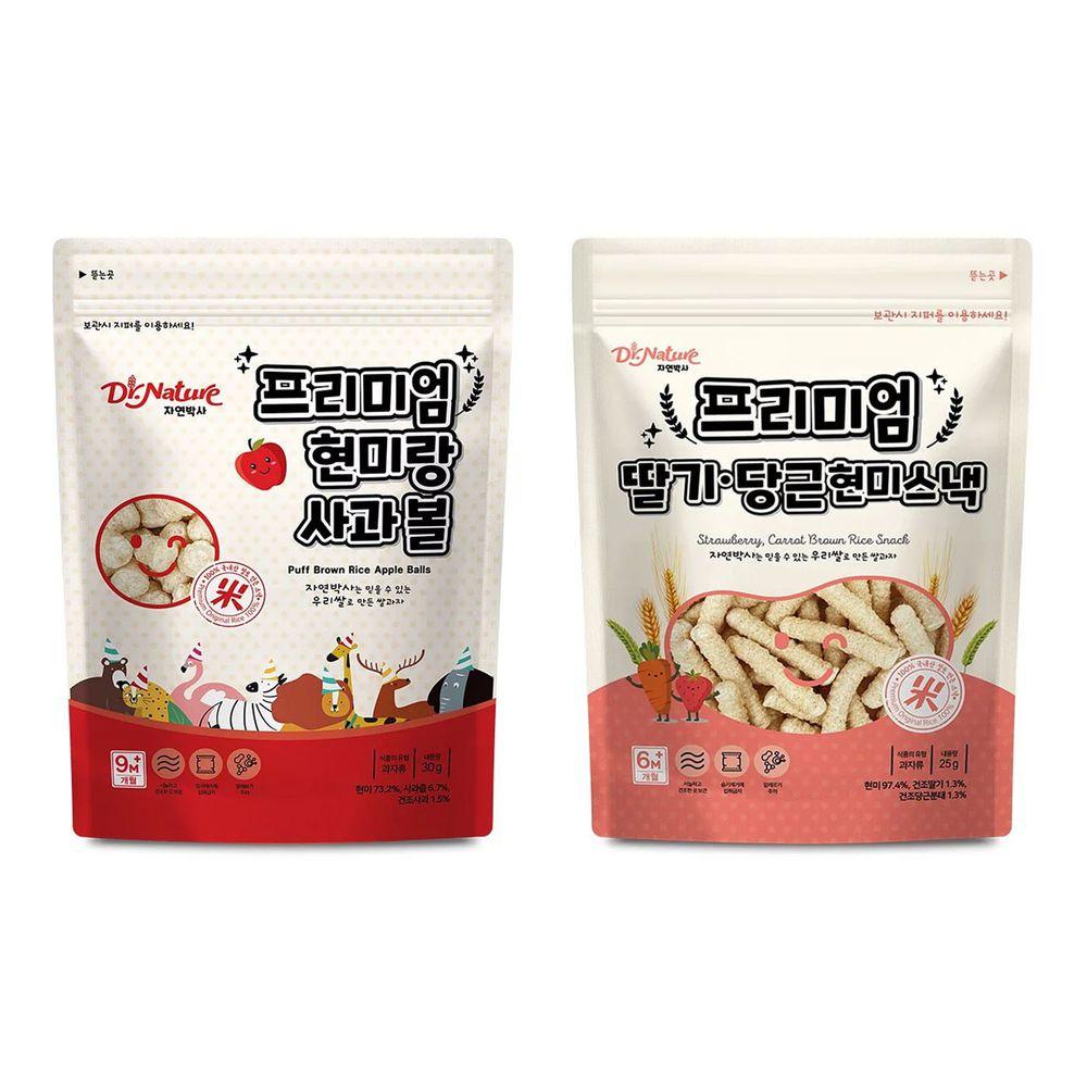 Dr.Nature米博士 - 幸福農場 糙米草莓紅蘿蔔米棒-25g+動物嘉年華 蘋果球球餅-30g