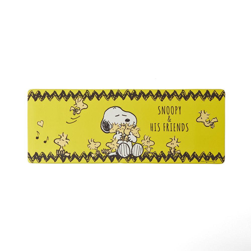 日本千趣會 - 史努比 易清潔 長條型腳踏墊(廚房/臥室)-糊塗塔克-黃色系