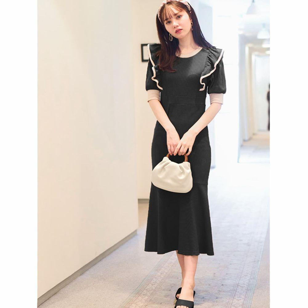 日本 GRL - 配色設計荷葉邊修身魚尾短袖洋裝-時尚黑