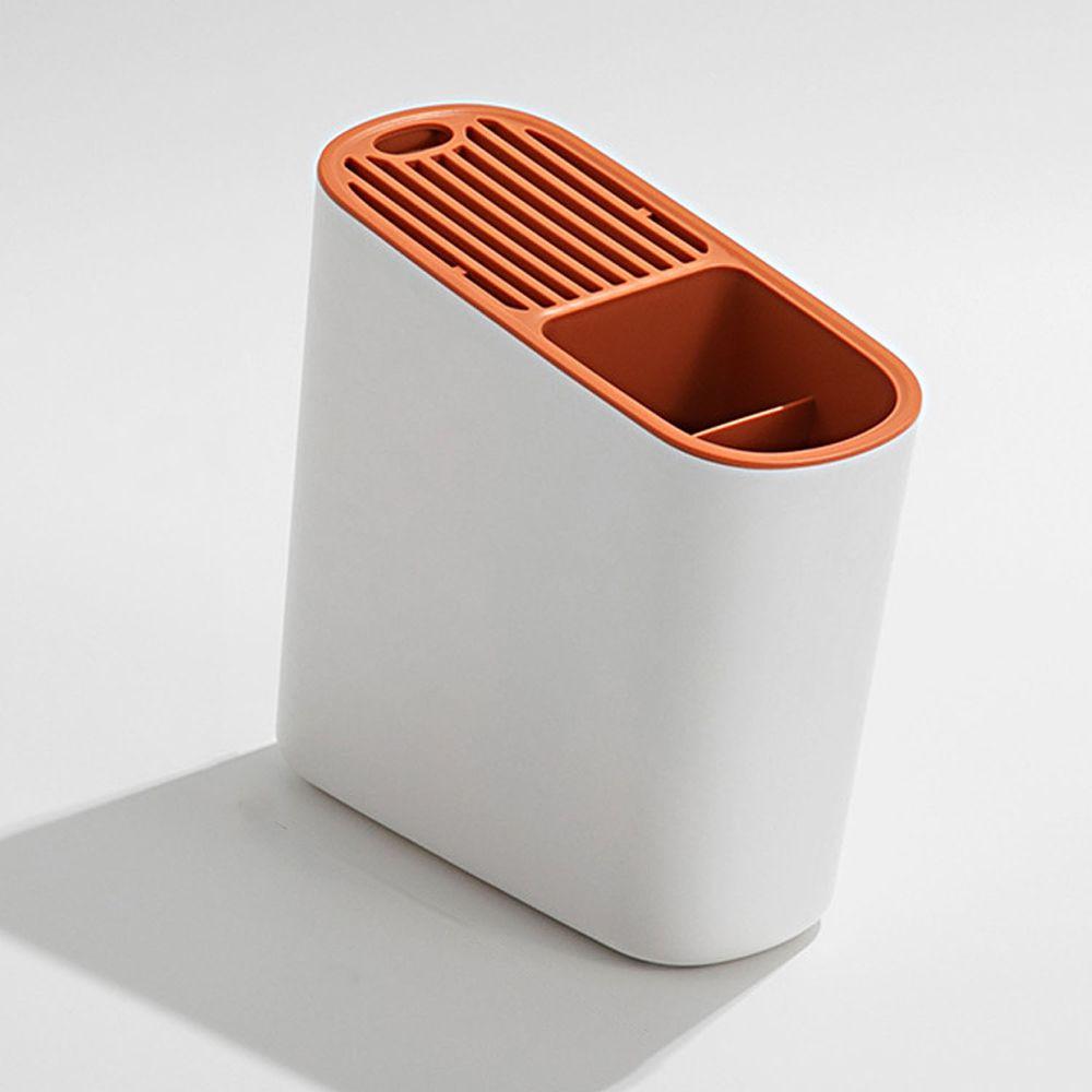 斜面瀝水刀具置物架-白橘色