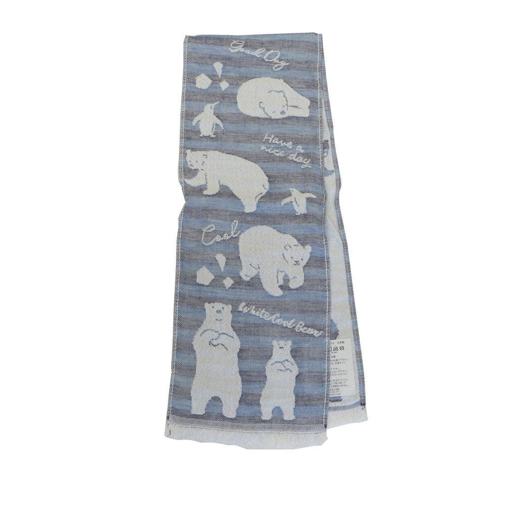 日本涼感雜貨 - 日本製 Eco de COOL 接觸冷感長毛巾-北極熊企鵝-深藍 (100x16cm)