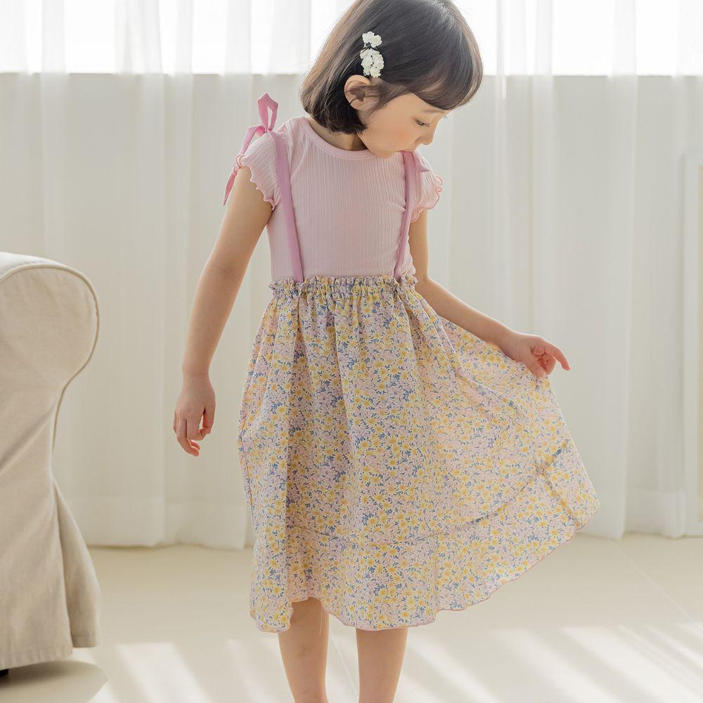 韓國 Orange Mom - 碎花細肩綁帶洋裝-粉紅
