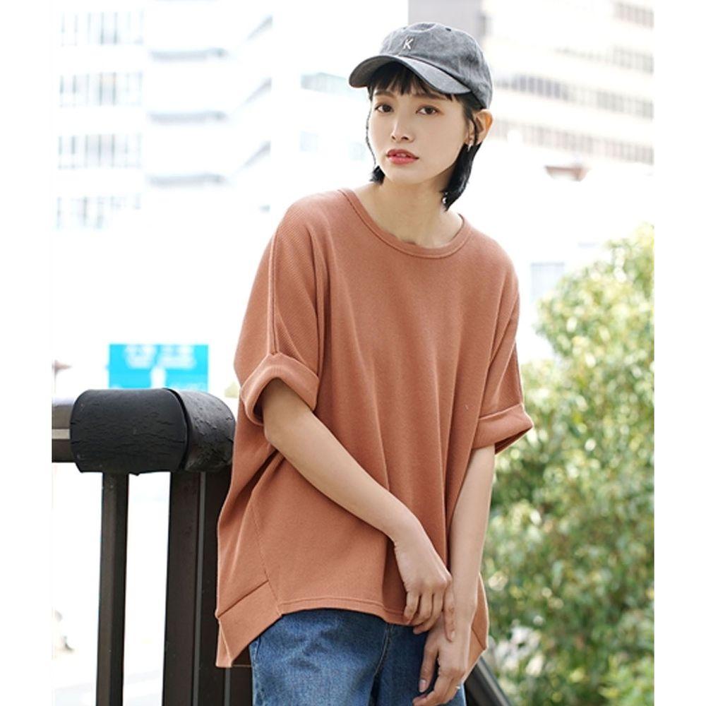 日本 zootie - 純棉鬆餅紋顯瘦五分袖寬版上衣-磚橘