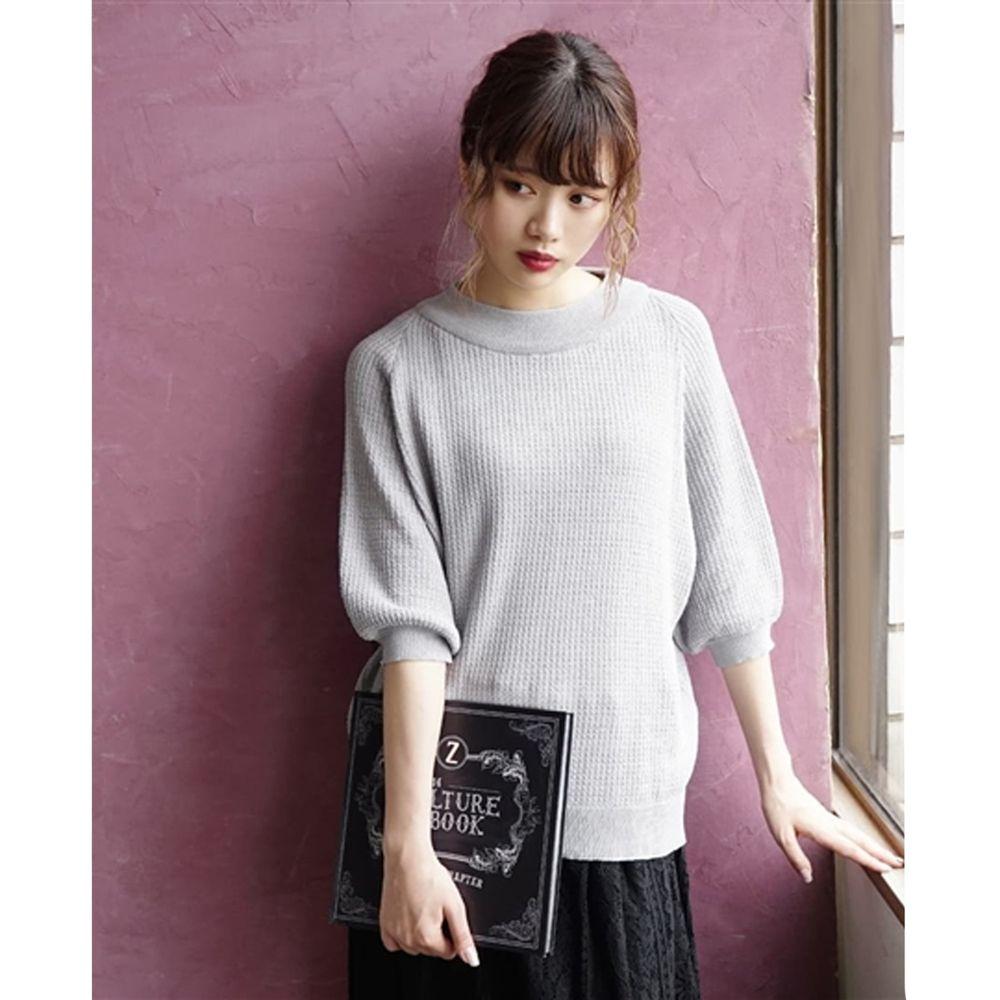 日本 zootie - 涼感防曬速乾 顯瘦五分袖上衣-灰 (F)