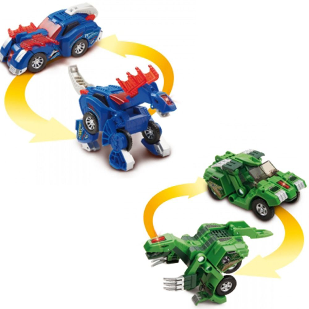 Vtech - 【超值1+1組】聲光變形恐龍車2入組-阿馬加龍(藍)+鐮刀龍(綠)