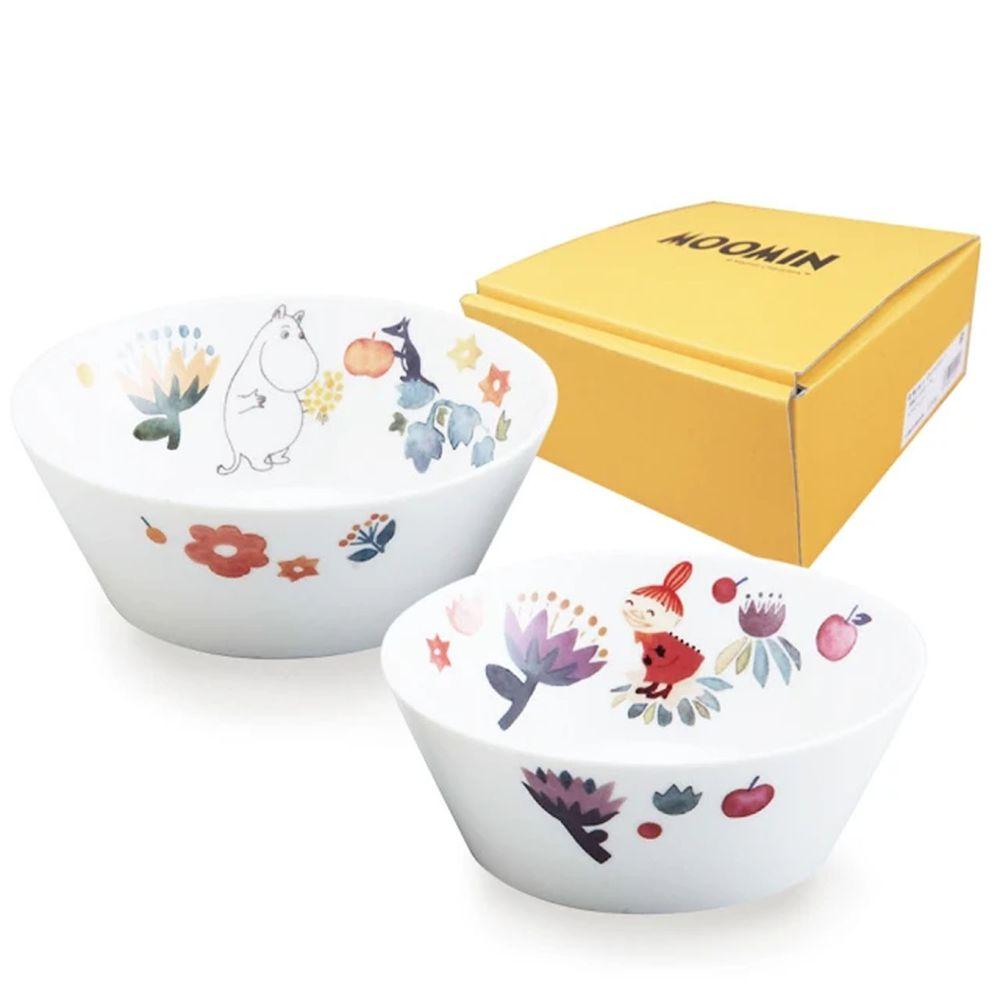 日本山加 yamaka - moomin 嚕嚕米彩繪陶瓷碗禮盒-MM2100-79)-2入組