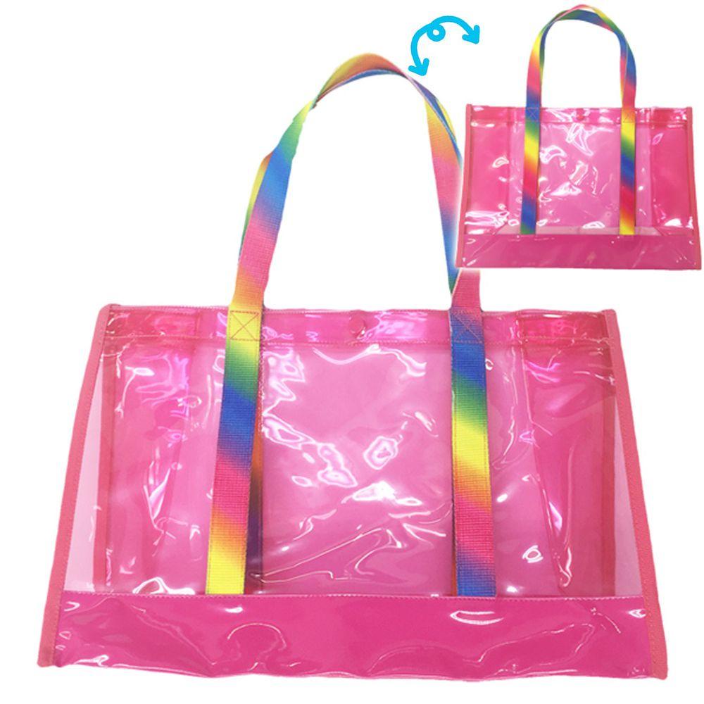 日本服飾代購 - 防水PVC游泳包(雙面圖案設計)-彩虹-桃 (25x36x13cm)