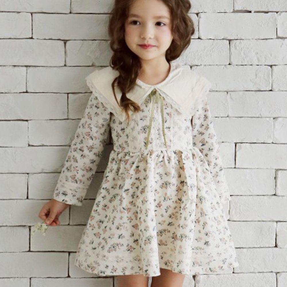 韓國 PuellaFLO - (剩11)浪漫白領蕾絲洋裝-象牙白碎花