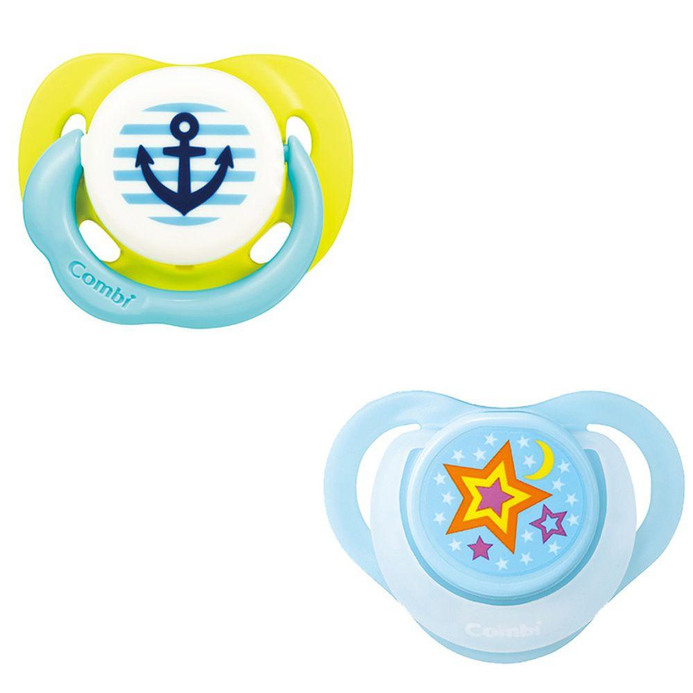 日本 Combi - 24H滿滿安全感 安撫奶嘴組合-微笑安撫奶嘴L+睡眠奶嘴L-微笑黃+甜藍