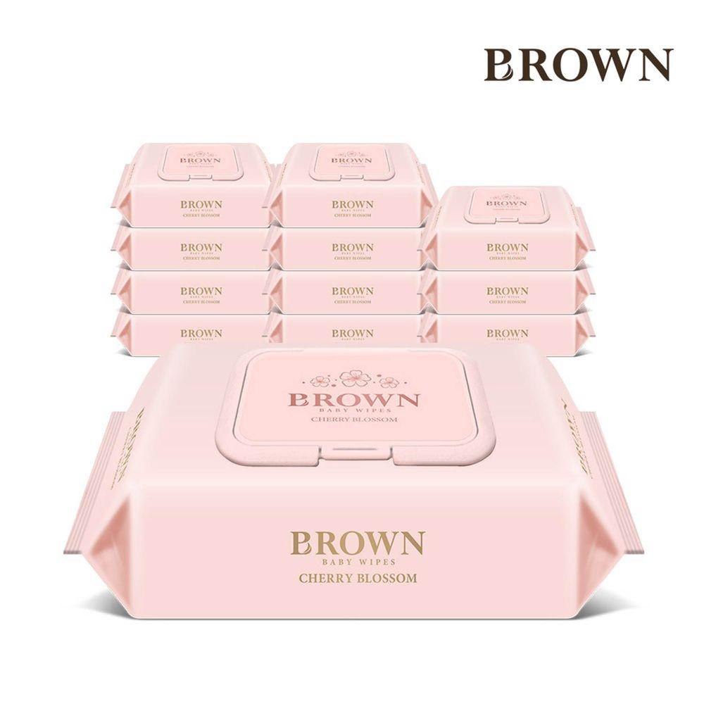 韓國BROWN - NATURE CHERRY BLOSSOM濕紙巾-櫻花20抽(含蓋)*12包