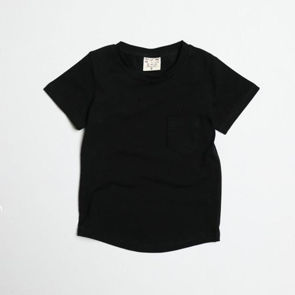 韓國製 - 水洗加工布口袋T-黑