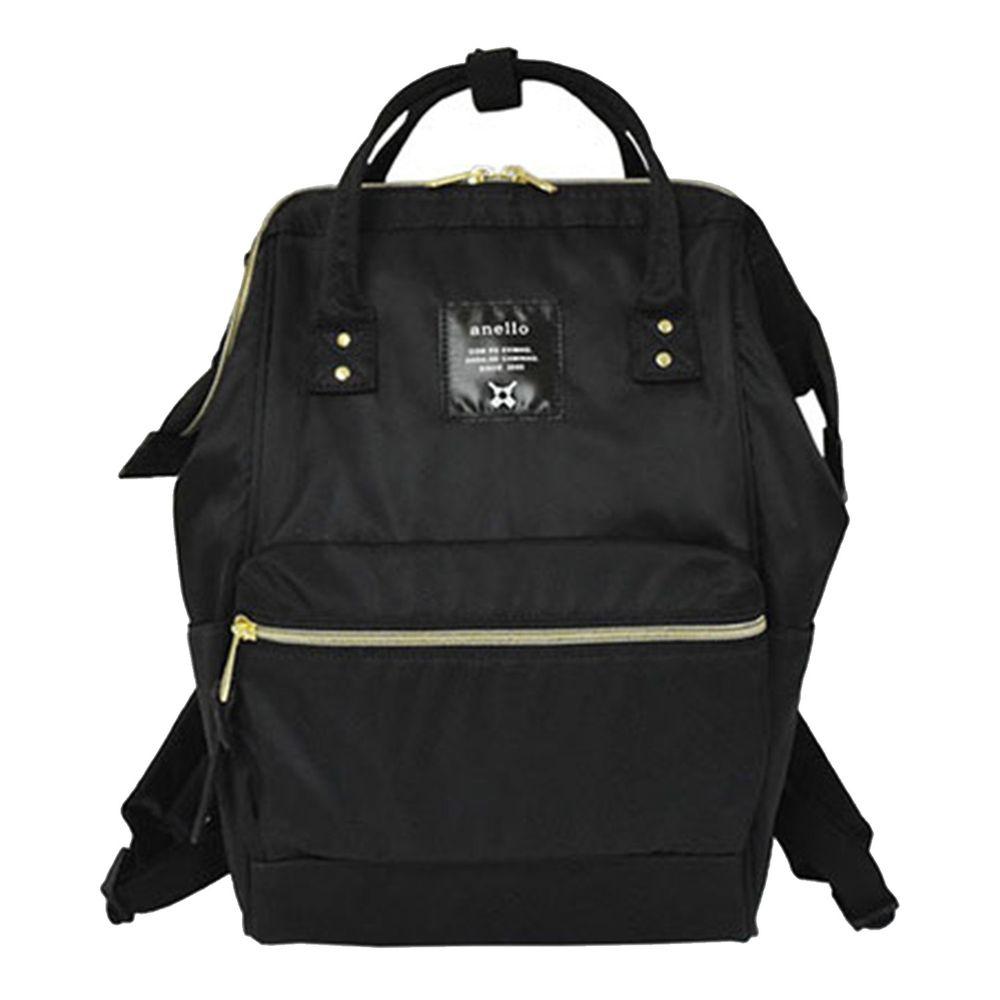 日本 Anello - 日本大開口高密度尼龍後背包-mini小尺寸-BK黑色
