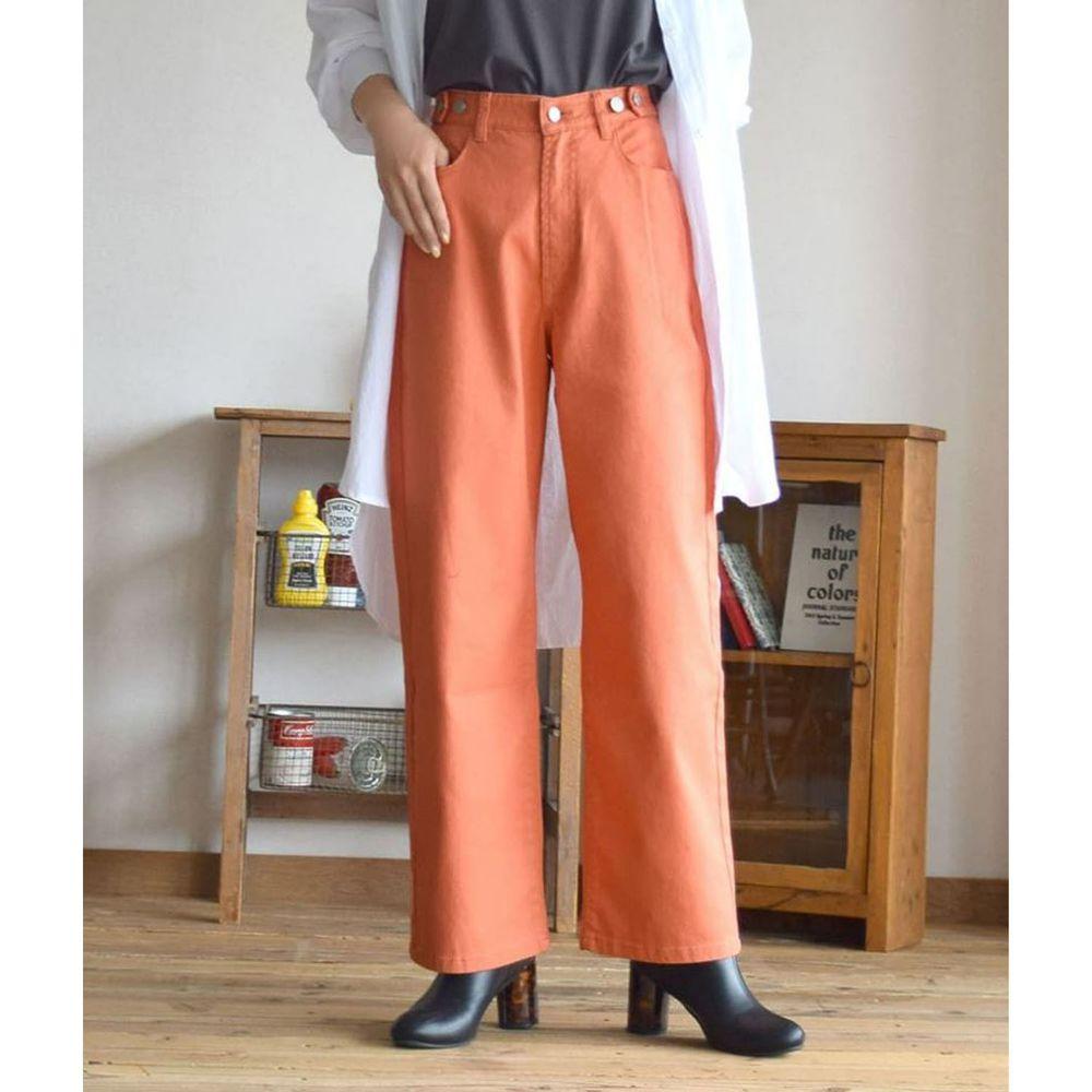 日本 zootie - 直筒百搭寬褲(腰圍可調節)-橘