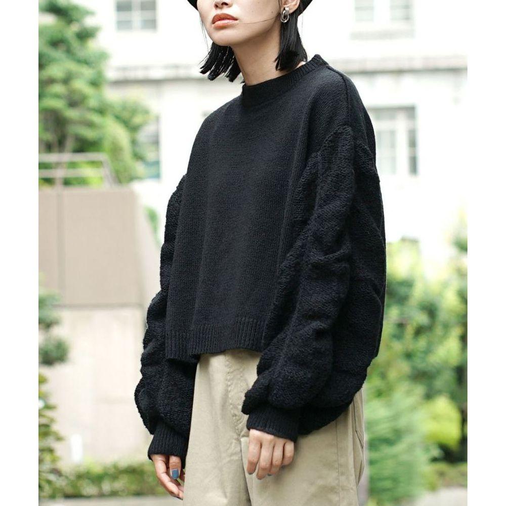 日本 zootie - 透膚泡泡寬鬆短版針織上衣-黑