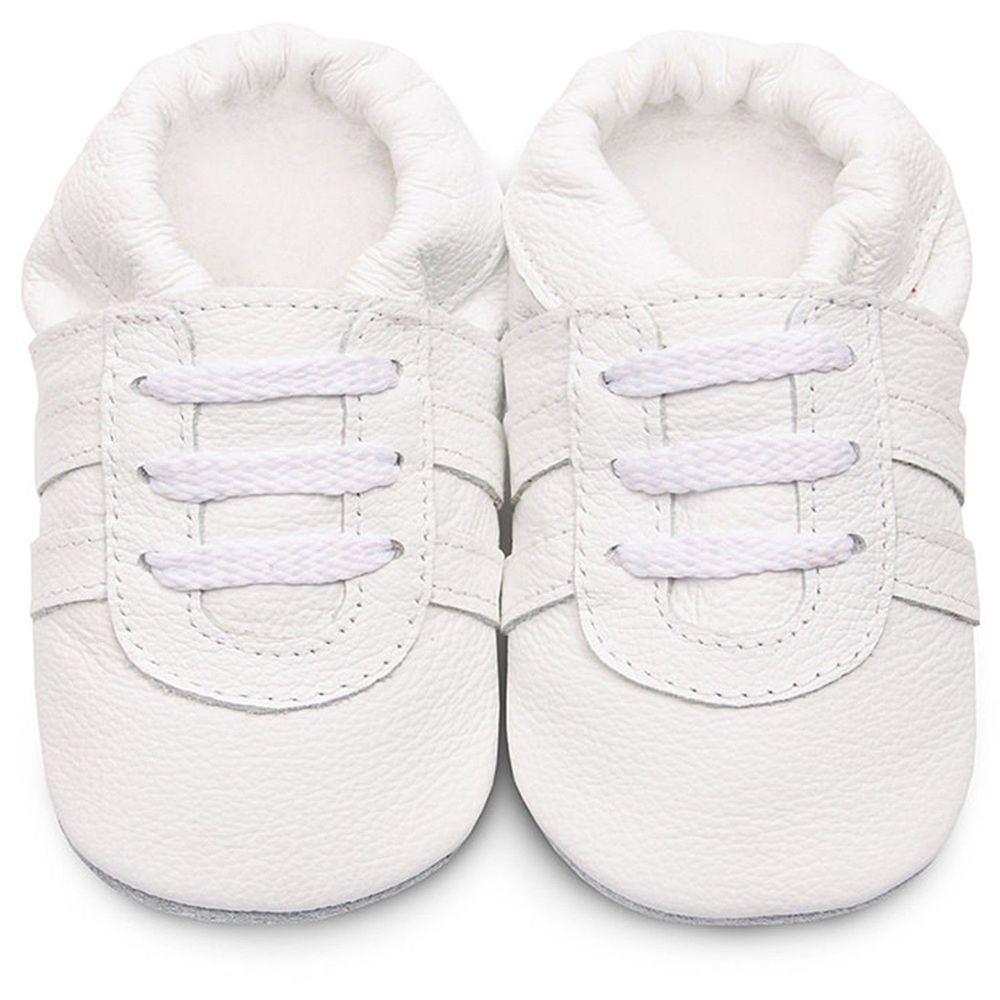 英國 shooshoos - 健康無毒真皮手工鞋/學步鞋/嬰兒鞋/室內鞋/室內保暖鞋-純白運動型