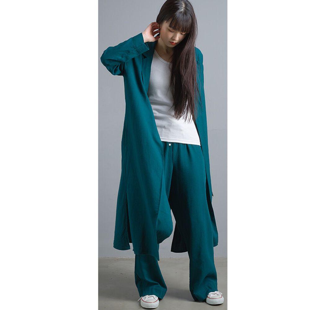 日本女裝代購 - 質感棉麻長版風衣外套-藍綠