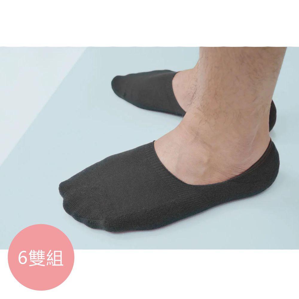 貝柔 Peilou - 貝柔0束痕柔棉止滑襪套-帆船鞋款(男女素色6雙組)-男款-灰色 (24-28cm)