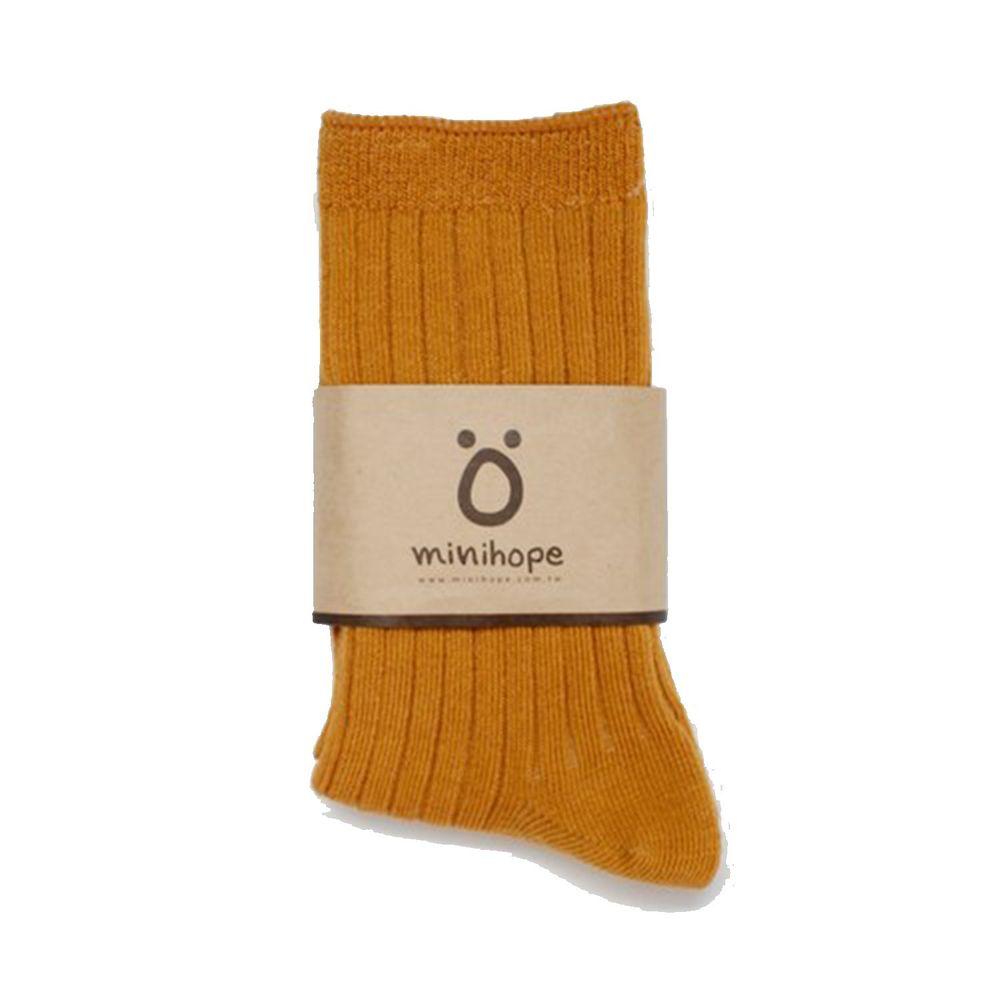 minihope美好的親子生活 - 好穿搭萊卡精梳棉襪-羅紋-芥黃