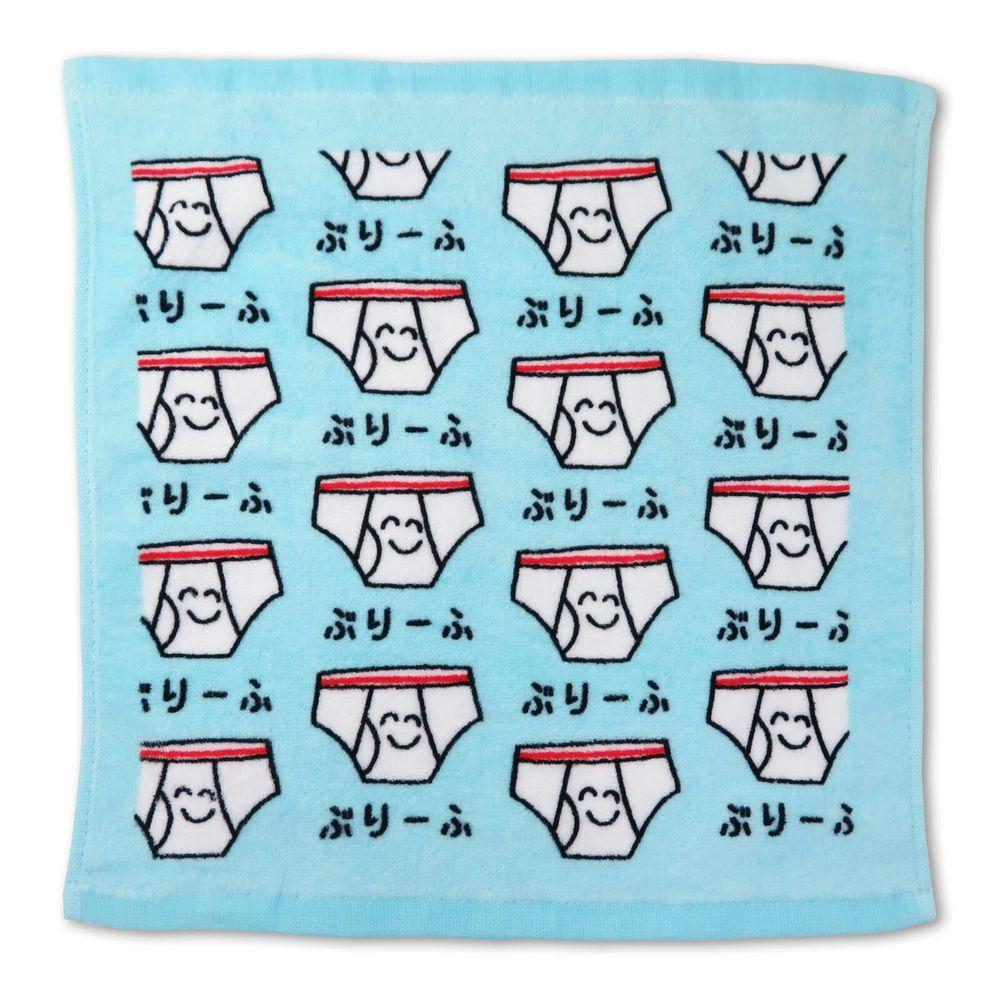 日本 OKUTANI - 童趣插畫方巾/手帕-內褲-水藍