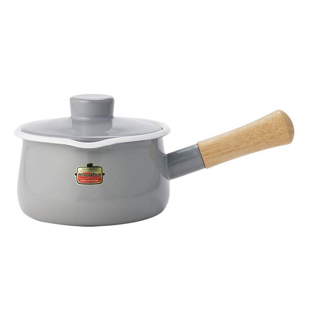 FUJIHORO 富士琺瑯 - Solid 經典系列-15cm單柄附蓋琺瑯牛奶鍋-灰色-容量:1.2L 重量:0.9kg