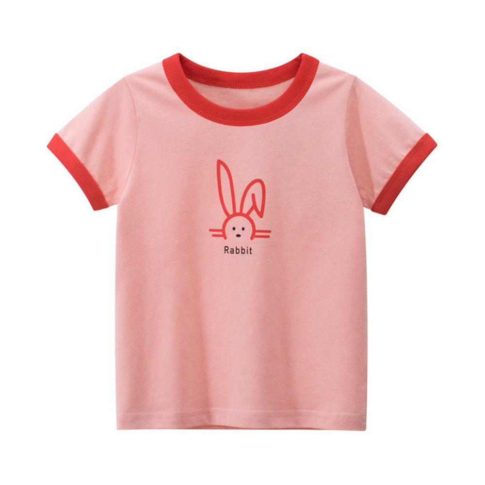 純棉短袖上衣-Rabbit小兔-粉色