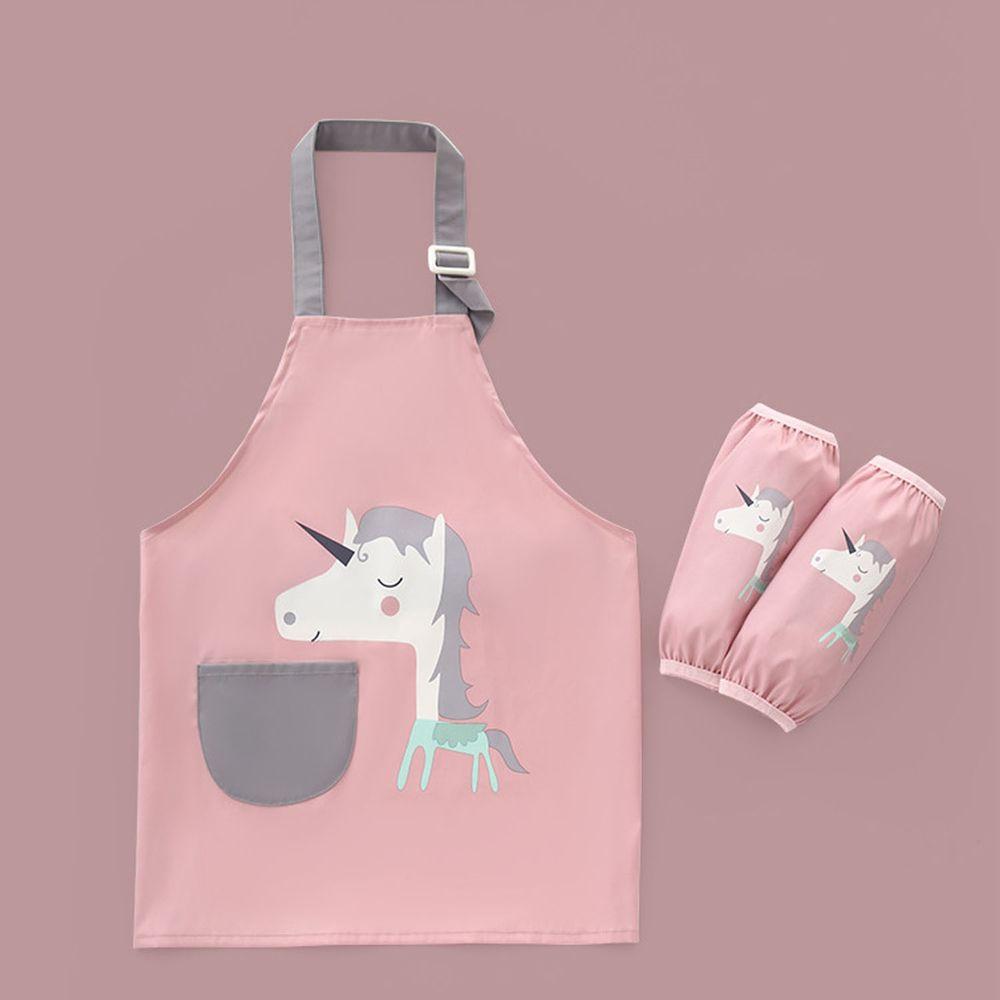 兒童防水畫畫衣套裝-獨角獸-粉色