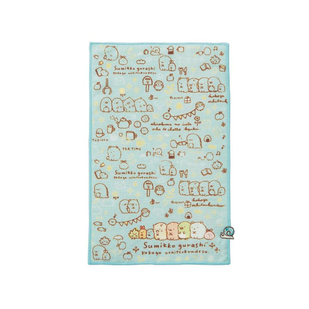 日本千趣會 - 角落生物 質感雙材質毛巾手帕-滿版插畫-藍 (15x24cm)