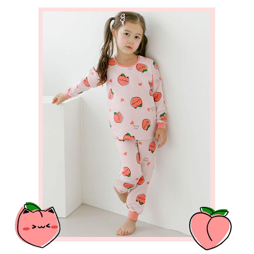 韓國 Maykids - 有機棉鋪棉保暖家居服-甜心蜜桃